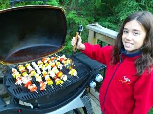 grilling kebobs